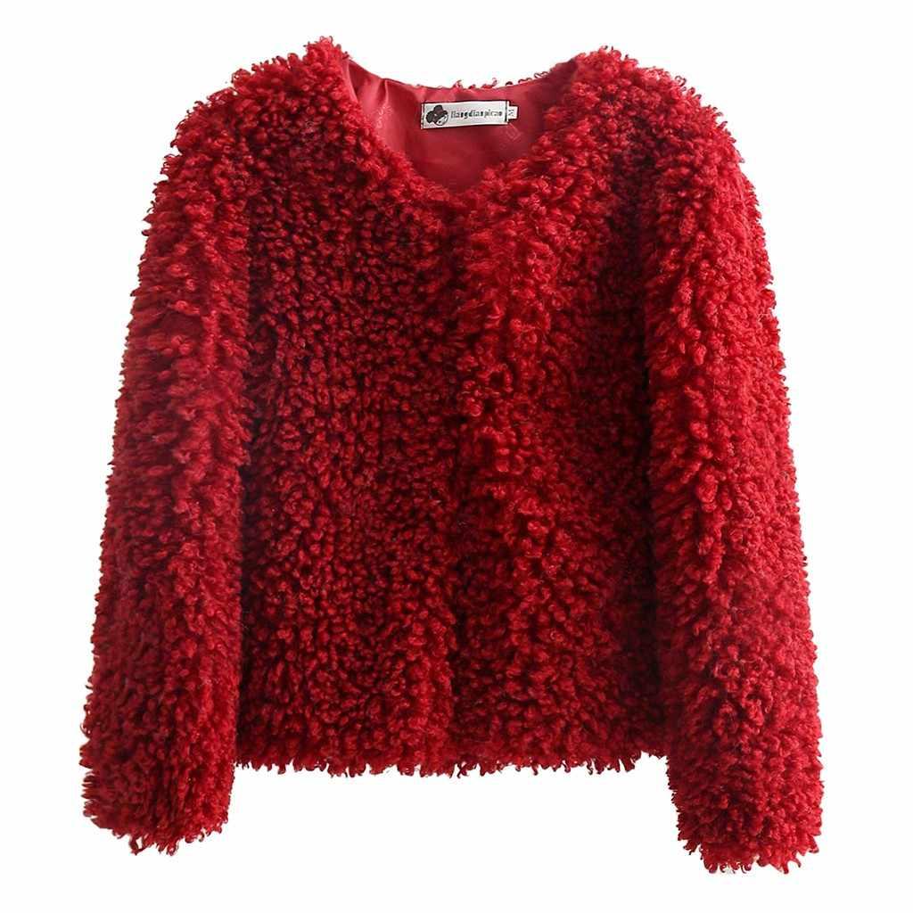 Плотное бархатное пальто, женское однотонное плюшевое пальто с круглым вырезом, Свободный Повседневный Кардиган, женское короткое пальто, верхняя одежда 19Sep07 P30