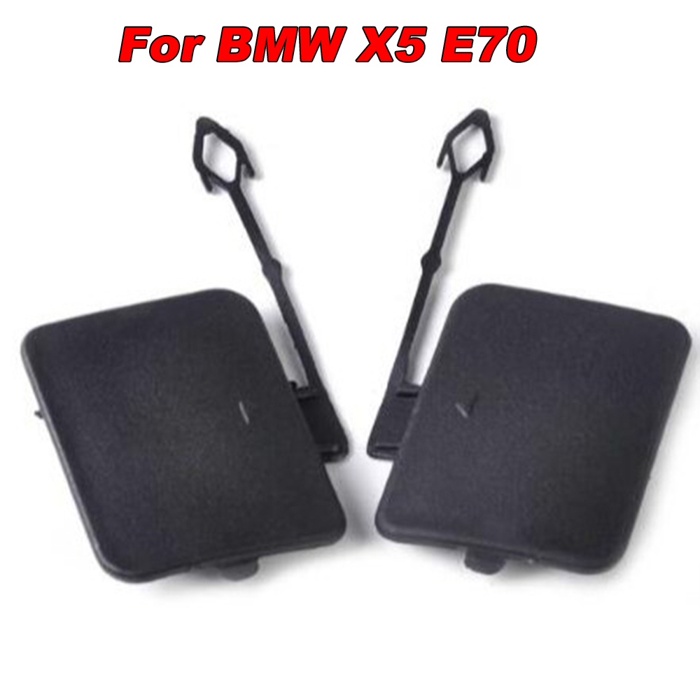 Car Tow Hook Cover Replacement Cap Rear 1 Pair Exterior Black Parts Durable