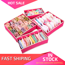 4PCS Storage Boxes For Ties Socks Shorts Bra Underwear Divider Drawer Lidded Closet Home Organizer   ropa interior organizador