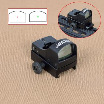 Tactical DOCTER Mini Red/Green Dot Sight Reflex Holographic Dot Sight For Airsoft Rifle Scope With 20mm Rail Mount For Hunting tactical qd quick detach side rail scope picatinny mount base red green dot sight mount for hunting ak47 ak74 rifle accessory
