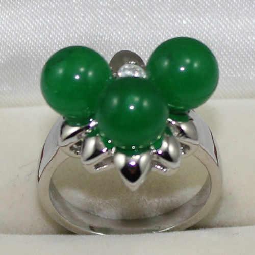 Roo1113 สีเขียวหยกลูกปัด Silver Plated แหวนสำหรับวันวาเลนไทน์ 5.29