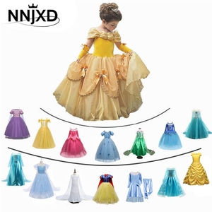 Fancy Girl Princess Dresses Sleeping Beauty Belle Beauty and the Beast Cosplay Costume Elsa Anna Dress Children Party Clothes(China)