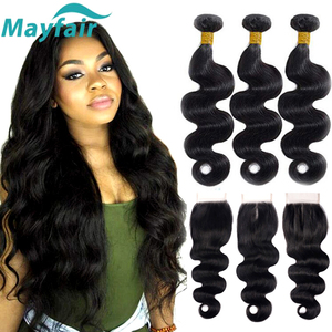 Mayfair Body Wave Bundles With Closure Brazillian Hair Bundles With Closure 3/4 Bundles Remy Human Hair Bundles With Closure(China)