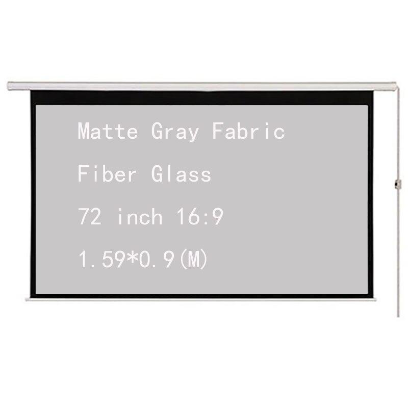 Thinyou 72 pulgadas 16:9 tela gris mate fibra de vidrio eléctrico motorizado proyector pantalla de cine en casa escuela de negocios Bar Toalla de piel auténtica, piel de oveja natural, pantalla de limpieza de alta gama, absorbente de piel de oveja para coche