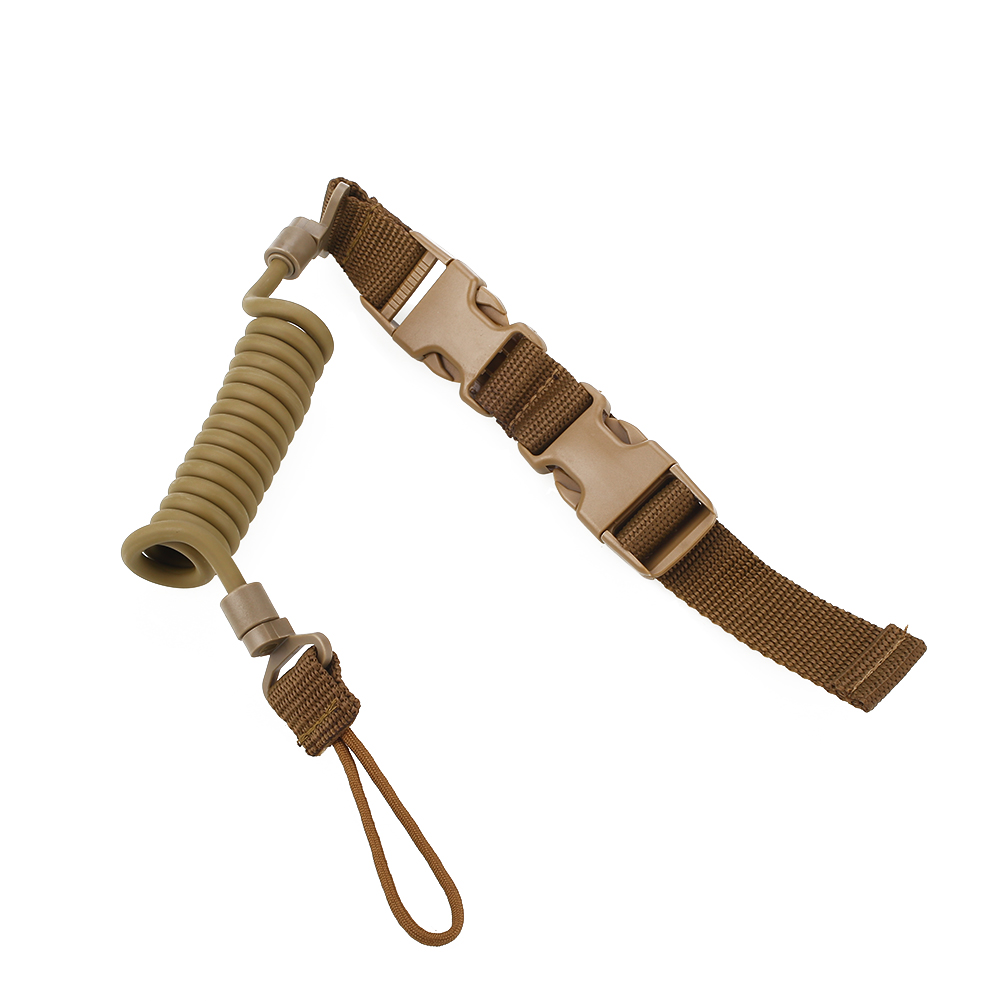 Tactical Pistol Lanyard Spring Stretchy Adjustable Safety String Anti-Lost