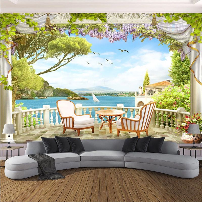 Custom Mural Wallpaper 3D Balcony Seaside Landscape Wall Painting Living Room TV Sofa Dining Room Backdrop Wall Decor Wallpapers