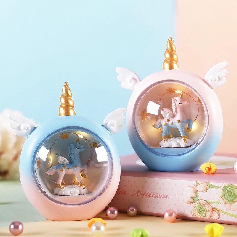LED Unicorn Night Light Baby Nursery Resin Animal Bedside Lamp Toys Birthday Christmas Gift For Kids Home Decoration