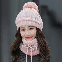 Gloves Hat Beanies-Hats Knitted Winter Women Outdoor for Girls Warm Riding-Sets Scarf