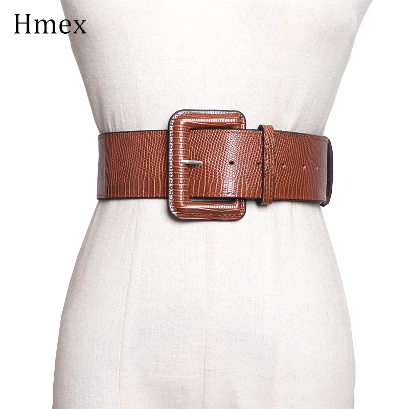 New Design Ceinture Large Femme Leather Wide Waist Belt Women Fashion Square Pin Buckle Corset Black Brown Belt For Dress
