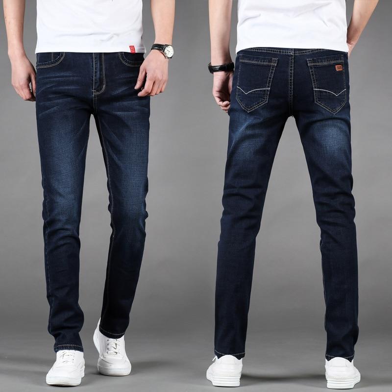 Men Elasticity Slim Fit Jeans Men's Four Seasons Paragraph Straight-Cut Loose-Fit Casual Long Pants BOY'S Korean-style Trend Aut