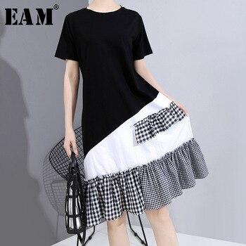 [EAM] Women Black Plaid Ruffles Stitch Midi Dress New Round Neck Short Sleeve Loose Fit Fashion Tide Spring Summer 2020 1W579