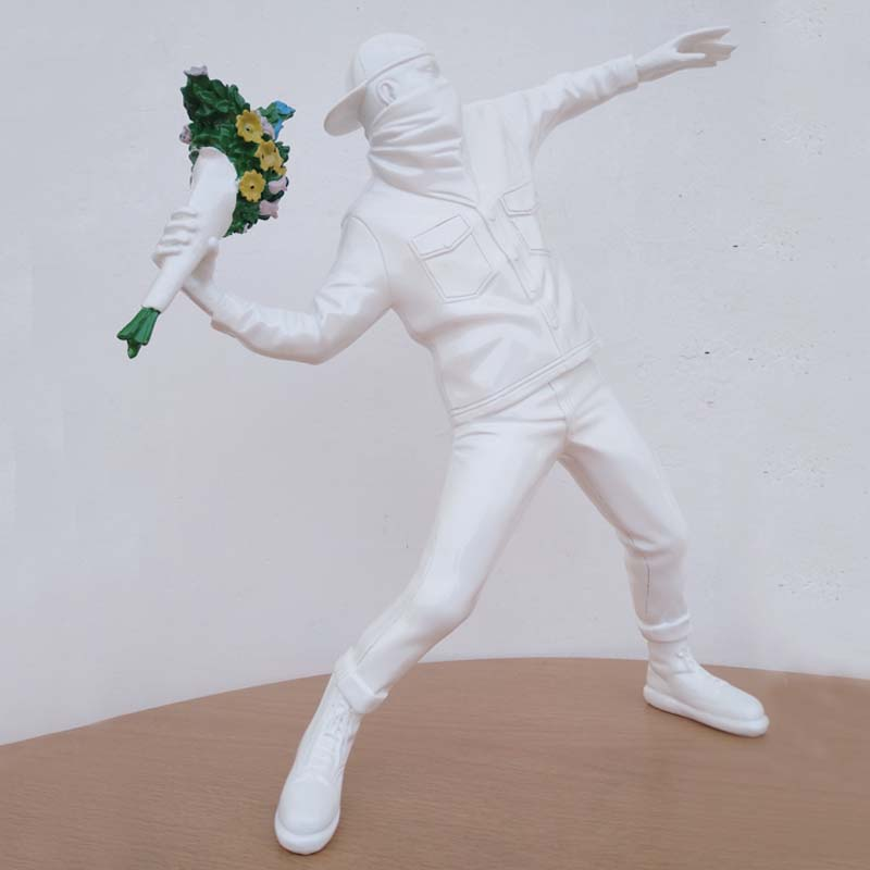 Modern Art Flower Resin Figurine England Street Art Sculpture Statue Creative Collection Art Toy Ornaments Miniature Boy|Statues & Sculptures|   - AliExpress