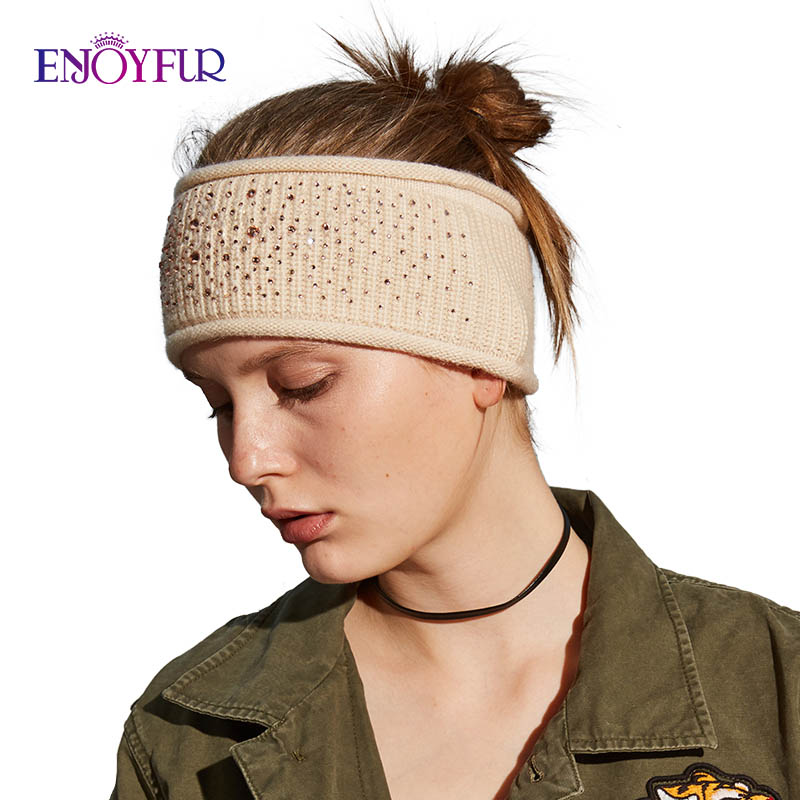 ENJOYFUR Women Headband Rhinestones Decorative Headband Female Fashion Warm Lady Headwear Cashmere Knitted Hair Accessories