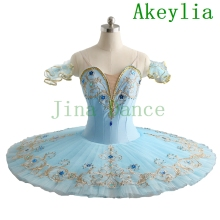 Pale Blue Ballet Tutus Dress Classical Professional Ballet Tutu Girls Pancake Sleeping Beauty Variation Ballerina Dance Costume