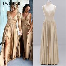Real Images Sexy Long Bridesmaid Dresses Deep Neck Split Sid