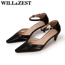 Shoes Female Sandals Block-Heels Closed-Toe Ladies Pump Woman Summer Zest Will