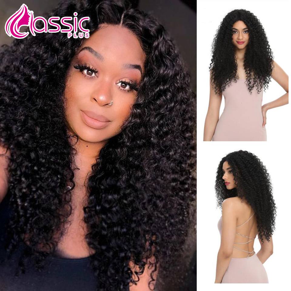 Classic Plus Synthetic 26 Inch Afro Kinky Curly Hair Wig For Black Women Blonde Black Ombre Brown Color Natural Kinky Curly Wig