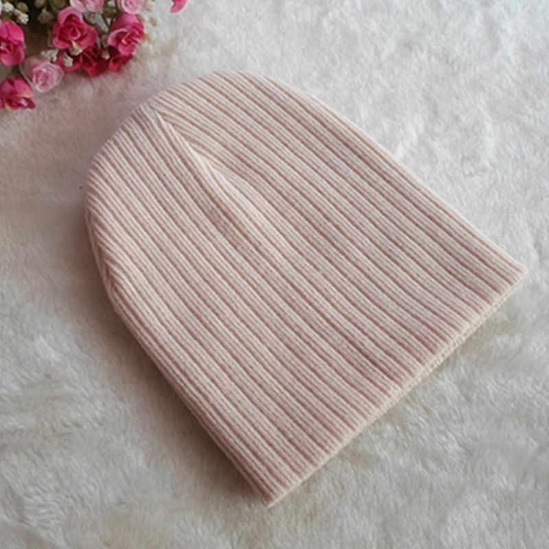 ปรับเด็กถักเด็กหมวกเด็กฤดูใบไม้ร่วงฤดูหนาวสีทึบหมวกนุ่มเก็บหมวกอุ่นสำหรับเด็กผู้หญิง