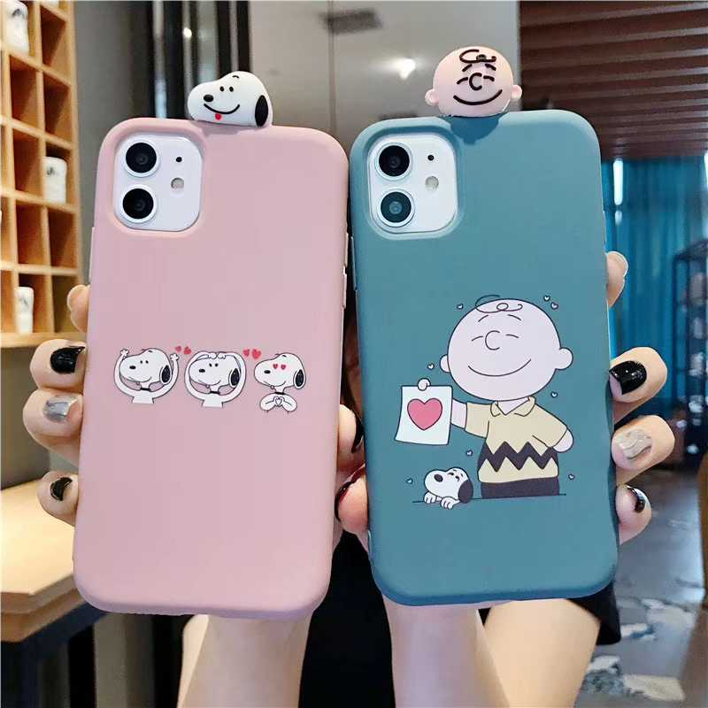 Leuke 3D Charlie Brown hond telefoon Case voor iPhone X XR XS Max 11 6 6s 7 8 plus 11pro case Liefde hart soft silicone cover capa