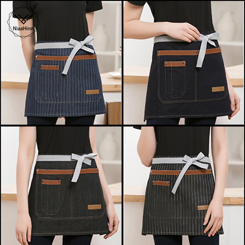 High Quality Apron Adjustable Half Body Male Adult Apron Striped Hotel Restaurant Chef Waiter Aprons Short Kitchen Cook Apron
