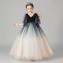Children Girls Luxury V-Collar Birthday Evening Party Princess Ball Gown Fluffy Dress Kids Model Show Communication Long Dress(China)