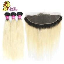 Facebeauty-mèches cheveux péruviens Remy lisses, 1B blond ombré, 13x4, avec Closure, Swiss Lace Frontal, lots de 3