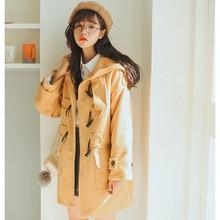 Winter Korean Version Hooded Plus Velvet Thickened Woolen Coat Fashion New Horn Buckle Woolen Coat Loose Warm Outwear Coat longline horn button woolen coat