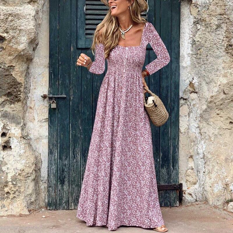 Пляжное платье макси 2019, женское летнее платье с длинным рукавом и квадратным вырезом, бохо-кафтан, туника в цыганском этническом стиле, цве...