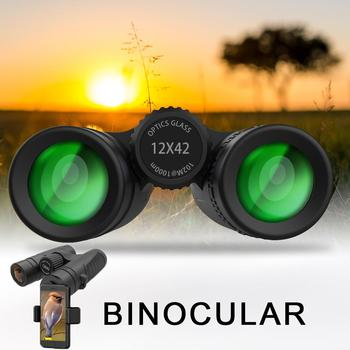 12x42 High Brightness Binoculars HD Professional Telescopes with Clear Weak Light Vision for Performance Shooting
