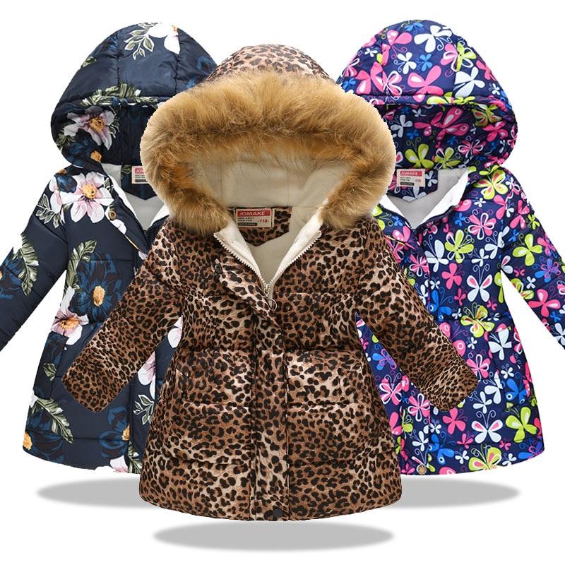 Winter Baby Girls Cartoon Printed Long Jacket Kids Keep Warm Thick Leopard Parkas Coats Children Girls Outerwear Girls Clothes
