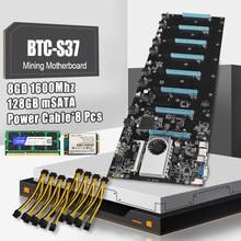 BTC-S37 máquina de Minería de la placa base 8 CPU Bitcoin Crypto Etherum con 8GB DDR3 1600MHz RAM 1037U 128GB MSATA SSD Cable de alimentación