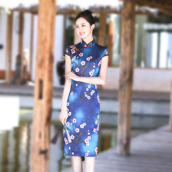 Sheng Coco Navy Blue Silk Qipao Cheongsam New Plum Qipao High Quality Classical Chinese Qi Pao Summer Chinese Dress