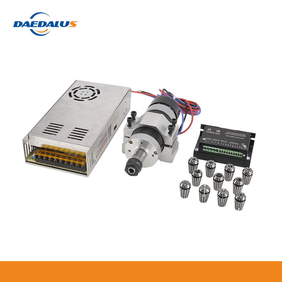 Daedalus CNC 500W brushless spindle DC air cooled spindle motor ER16 WS55 220 driver 55MM fixture bracket fixed power ER16 chuck Machine Tool Spindle     - title=