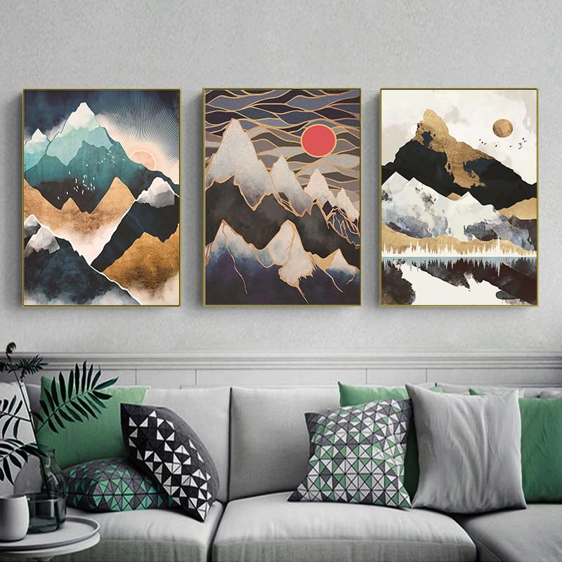 Modern soyut manzara resim ev dekorasyonu Nordic tuval boyama duvar sanatı dağ Sunrise baskılar ve posterler oturma odası için
