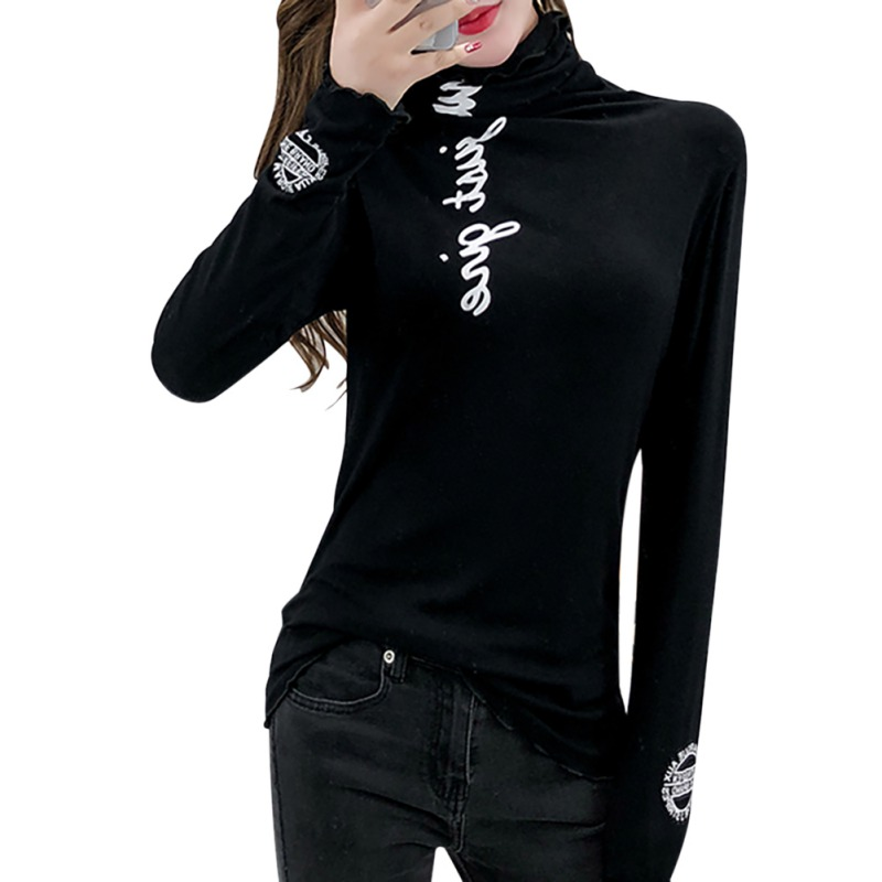 O Korean Style Graphic Tees Women Plus  Letter Print T-shirt High Collar Slim  Long-sleeved Bottoming Wild Casual Tops