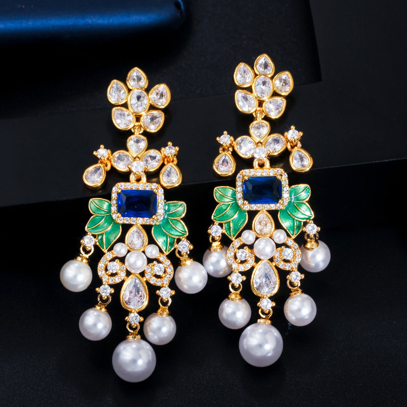 Image 4 - CWWZircons Flowers Cubic Zircon CZ Long Dangle Pearl Earrings for Women African Bridal Earring aretes de mujer modernos CZ656Drop Earrings   -