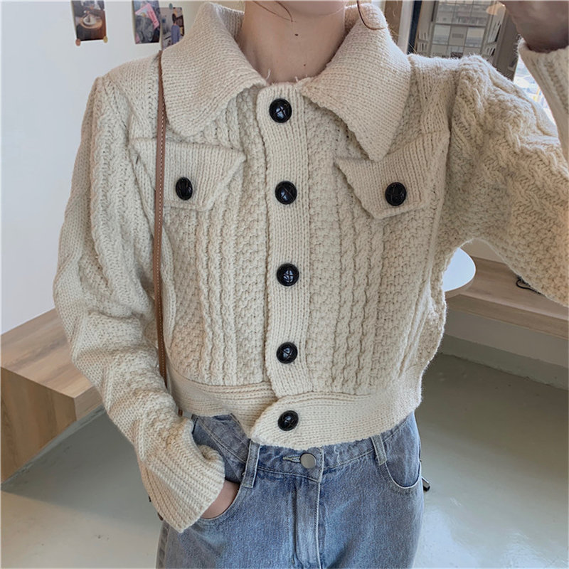 Alien Kitty All-Match Warm Pockets Solid Brief 2020 High Waist Office Lady Retro Chic Cardigans Women Knitted Short Sweaters