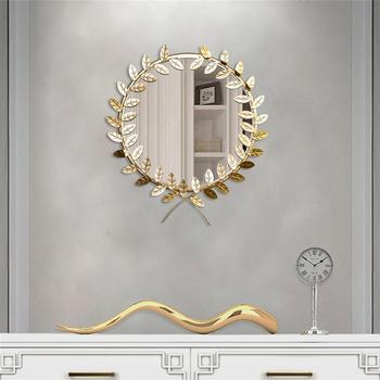 30cm Golden Leaf Shaped Metal Wall-mounted Mirror  1