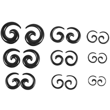 9 Pairs of Acrylic Spiral Taper Tunnel Ear Stretcher Expander Plugs---Black