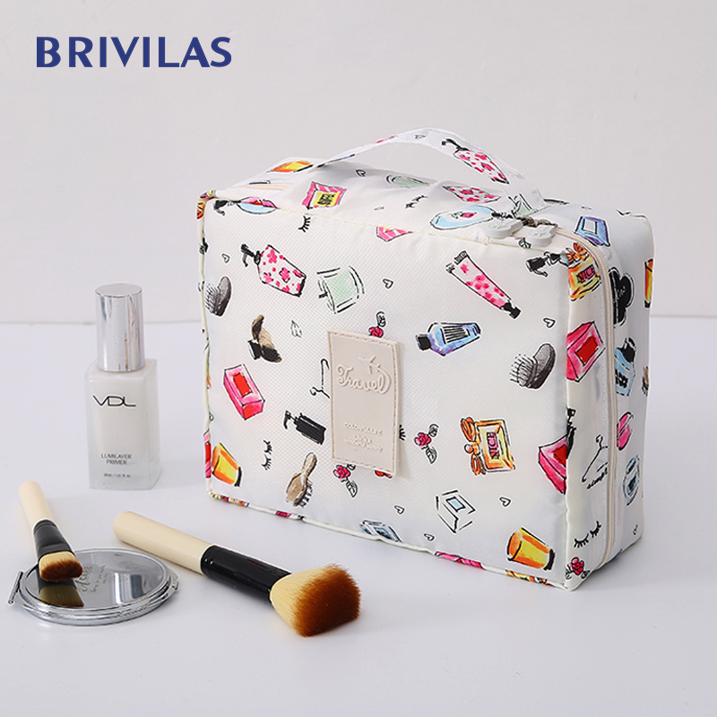 Brivilas Cosmetic Bag Handbag Organizer Square Women Fashion Storage Waterproof Flamingo Makeup Bag Trael  Velcro Makeup Case