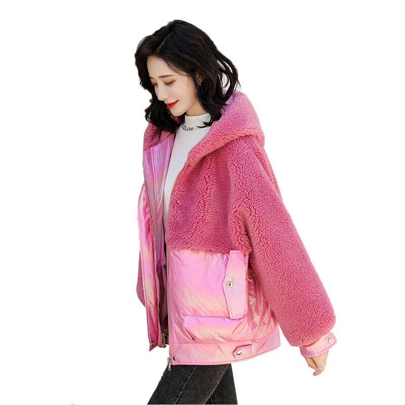 Зимняя короткая пуховая хлопковая одежда для женщин, новинка 2019, Корейская версия, верхняя одежда из овечьего меха с капюшоном, свободная те... - 5