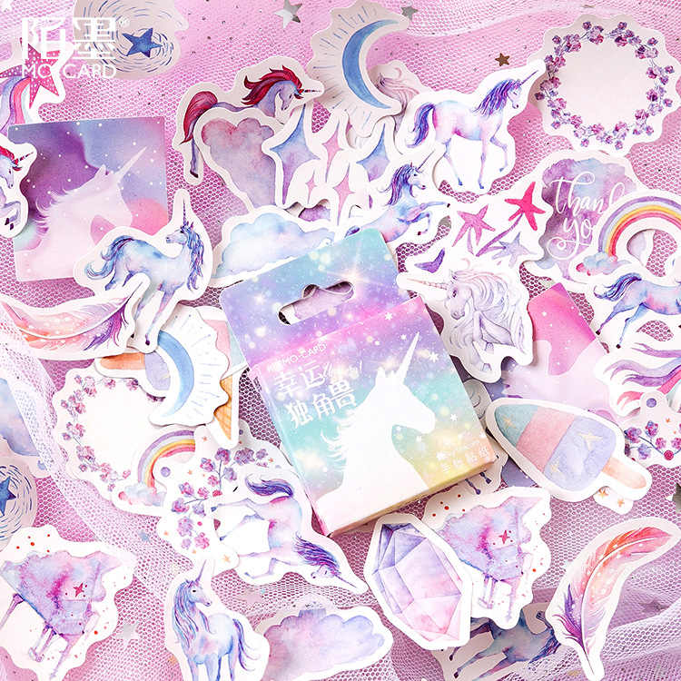 40Pcs/Pack Unicorn Stationery Stickers Doodling Travel DIY Sticker Car Motorcycle Luggage Laptop Bike Scooter Toys