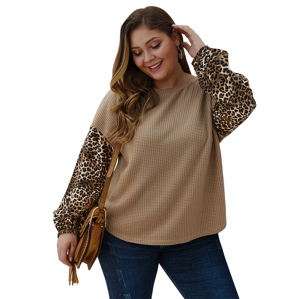 Big Size Knitted Sweater Chubby Girl Plump Women Casual Sweater Womens Leopard Print Puff Sleeve Knitted Tops Plus Size 3XL 4XL