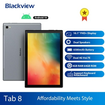Blackview Tab 8 2in1 Tablet  Smartphone Octa Core 10.1 Inch 4GM+64GM Android 10.0 Dual 4G VoLTE Tablet Phone 6580mAh Face Unlock 10 1 inch official original 4g lte phone call google android 7 0 mt6797 10 core ips tablet wifi 6gb 128gb metal tablet pc