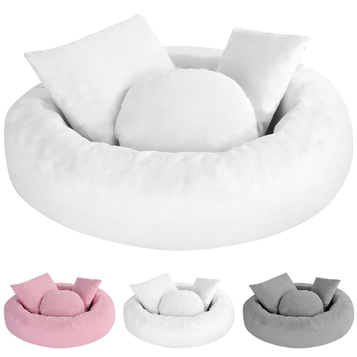 Baby Photo Shoot Wheat Donut Posing Props 4 Pcs Set Baby Pillows Ring Newborn Photography Props Basket Filler Fotografia Pillow Aliexpress