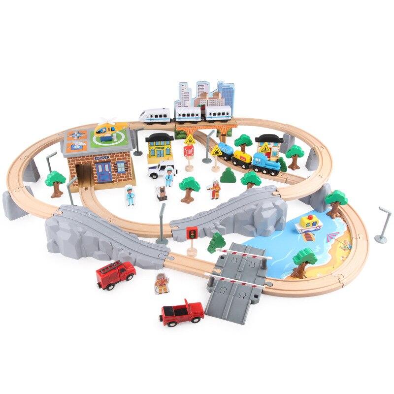 Деревянный Железнодорожный автомобиль, набор из 95 предметов, игрушки, электрический локомотив, детские развивающие игрушки, взаимодействие родителей и детей