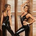 Блестящие мягкие силиконовые чехлы из искусственной кожи с открытой промежностью женские комбинезон сексуальное женское нижнее белье жен...