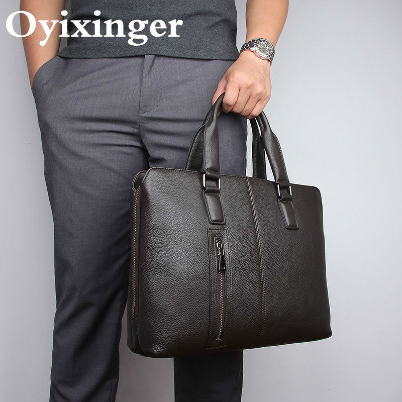New Genuine Leather Briefcases Men Briefcase Fashion Laptop Bags For Man Handbag Male Shoulder Messenger Business Bag Portafolio