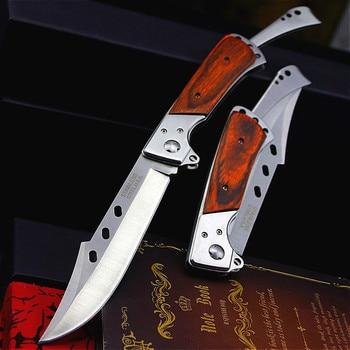 PEGASI  Colour wood handle folding swallowtail knife jungle hunting folding knife U.S.A Tactical folding knife body knife 3