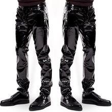 Plus rozmiar Sexy wysoki połysk lakierki Punk męskie spodnie męskie wydajność klub nocny kostiumy sceniczne spodnie męskie obcisłe spodnie tanie tanio Ecoosexy Proste Pełnej długości Mieszkanie REGULAR COTTON Faux leather 0 - 1 Midweight Suknem NONE W stylu Punk Zipper fly